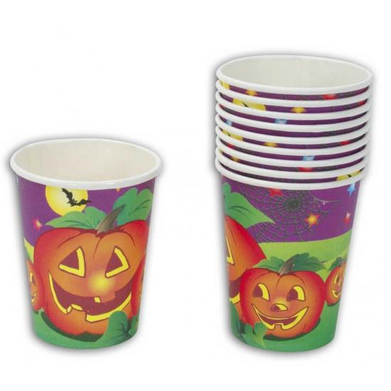 Halloween feestbekers pompoen 10 stuks