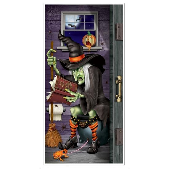 Halloween Halloween deurposter heks op toilet