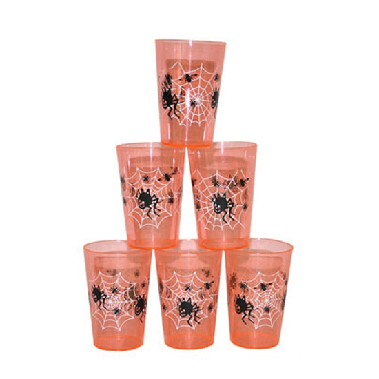 Halloween Oranje Halloween drinkbekers 6 st