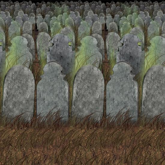 Halloween scenesetter met grafstenen 121 x 914 cm