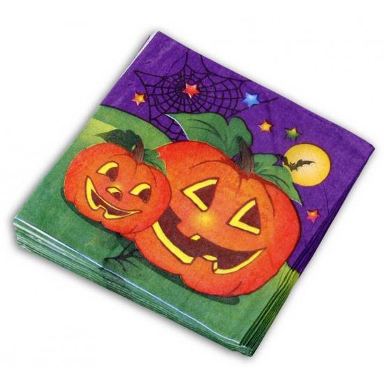 Halloween servetten pompoen 20 stuks