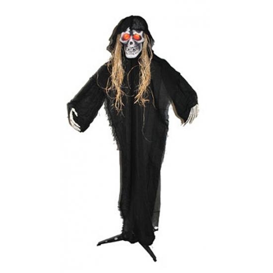 Halloween skelet wit op standaard