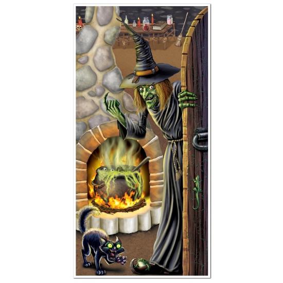 Halloween thema deurposter met heks