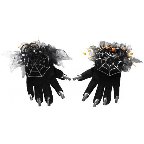 Halloween Zwarte heksen handschoenen