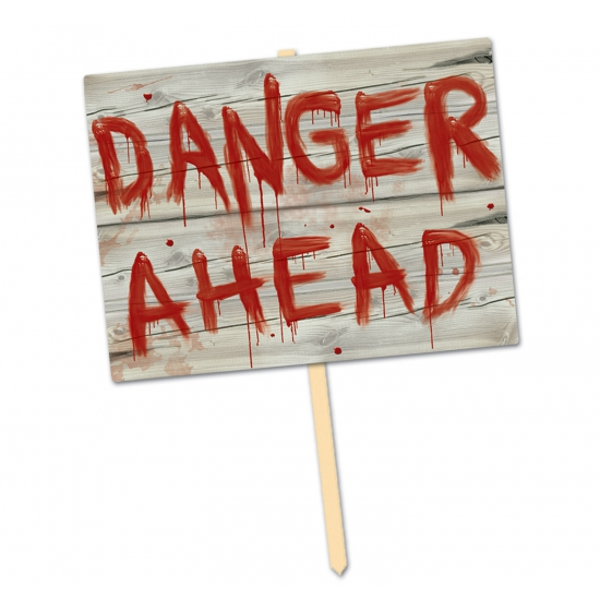 Hangdecoratie danger ahead thema