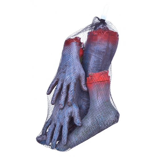 Latex zombie ledematen afgehakt