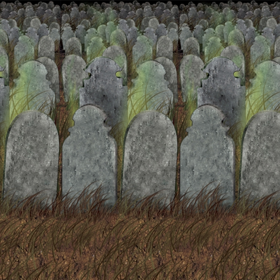 Scenesetter met grafstenen 121 x 914 cm