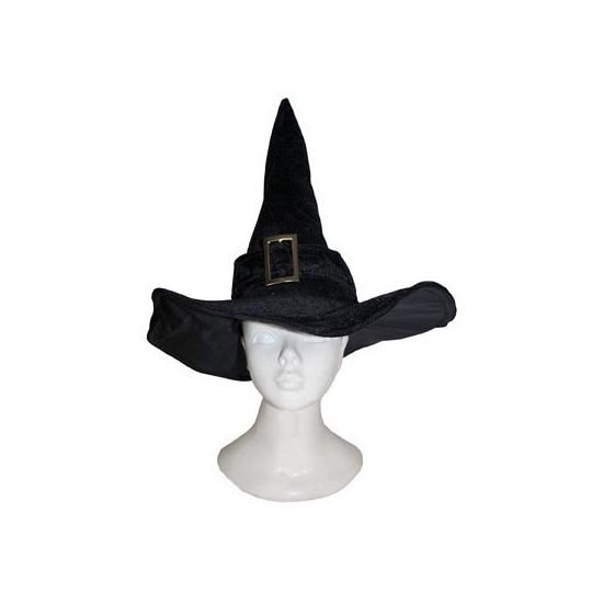 Zwarte heksenhoed met zilveren gesp