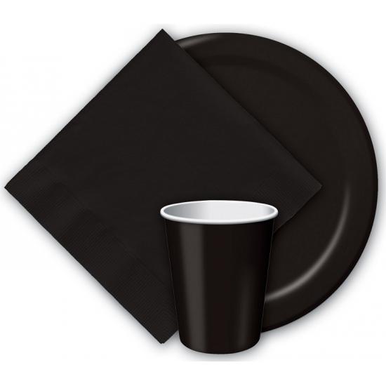 Zwarte kartonnen bordjes 23 cm