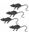 4 zwarte decoratie ratten 6 cm