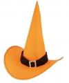 Halloween oranje heksenhoed van nylon