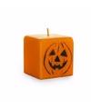 Halloween oranje pompoen kaars 7 cm