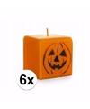 Halloween oranje pompoen kaarsen 6 stuks 7 cm