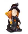 Halloween waxinelichthouder heks met bezem 21 cm