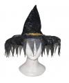 Zwarte heksenhoed met franje rand