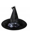 Zwarte heksenhoed met zilveren bloem