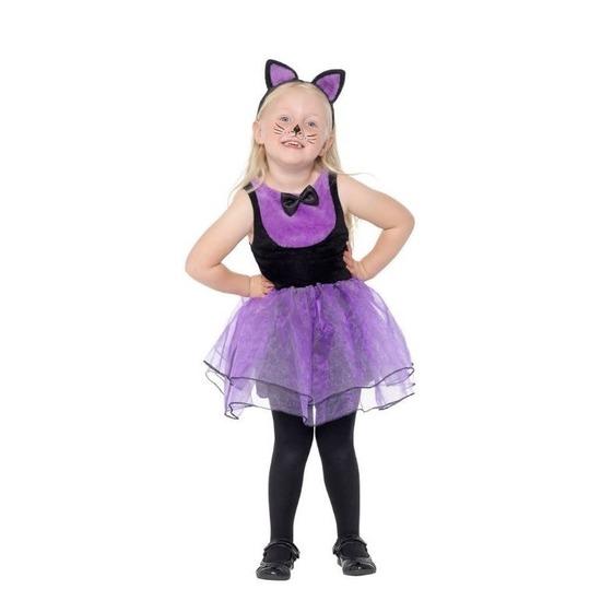 Halloween Kostuum Nl.Paars Zwarte Kat Poes Kostuum Voor Peuters Halloween