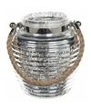 Lantaarn zilver glitter glas 16 cm